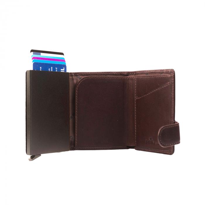 Portofel unisex cu suport pentru carduri, din piele naturala, The Chesterfield Brand, Leicester, cu protectie anti scanare RFID, Maro inchis [3]
