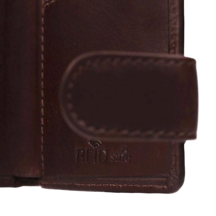 Portofel unisex cu suport pentru carduri, din piele naturala, The Chesterfield Brand, Leicester, cu protectie anti scanare RFID, Maro inchis [2]