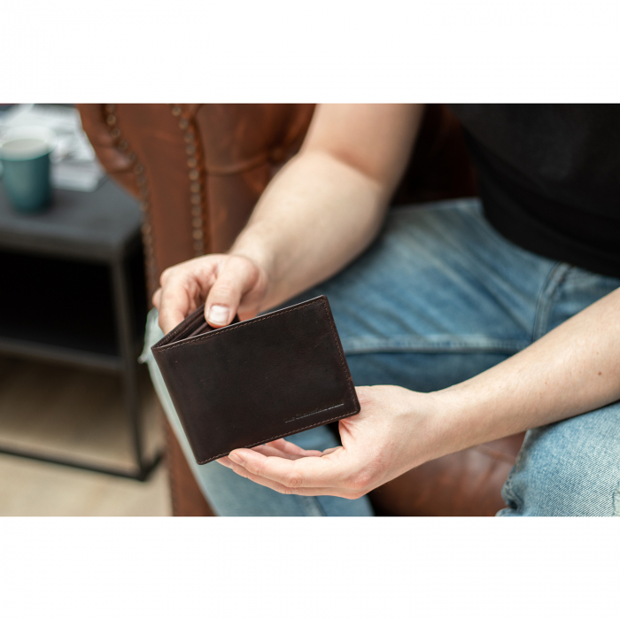 Portofel barbati, The Chesterfield Brand, cu protectie anti scanare RFID, din piele naturala, Timo, Maro inchis [1]
