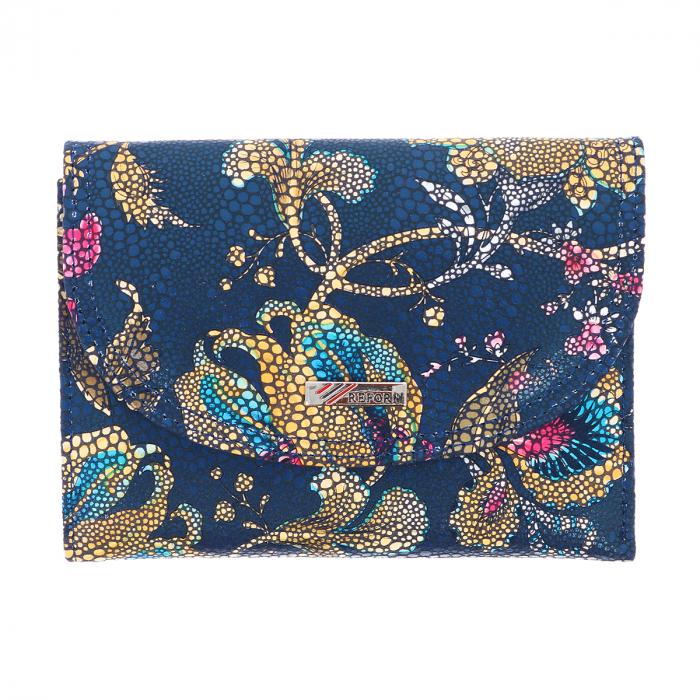 Portofel bleumarin din piele naturala cu imprimeu floral model 034 [1]