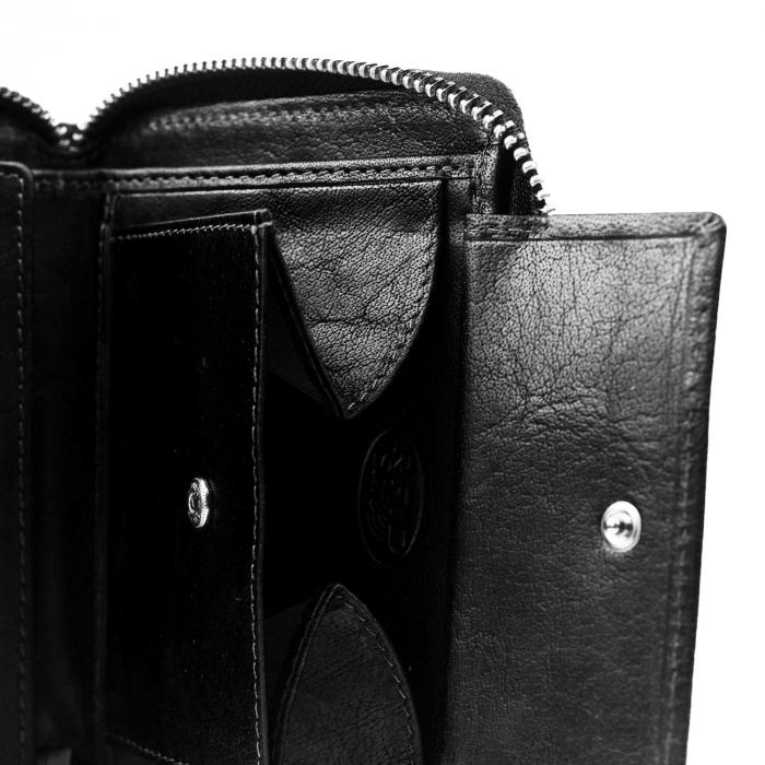 Portofel dama din piele naturala, The Chesterfield Brand, Helmond, cu protectie anti scanare RFID, Negru [2]