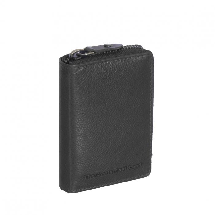 Port carduri din piele naturala, The Chesterfield Brand, cu protectie anti scanare RFID, Jim, Negru [0]