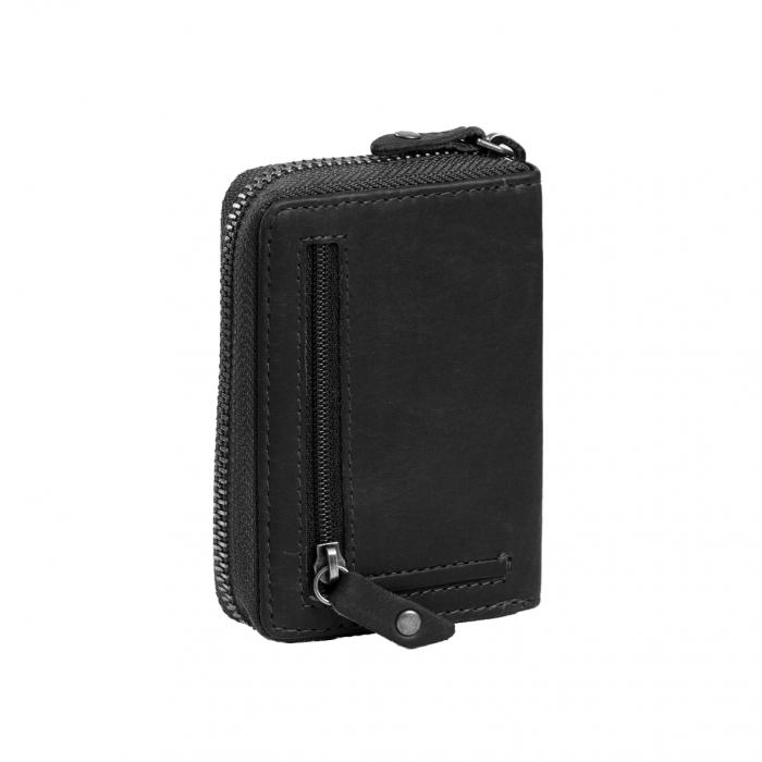 Port carduri din piele naturala, The Chesterfield Brand, Robin, cu protectie anti scanare RFID, Negru [1]