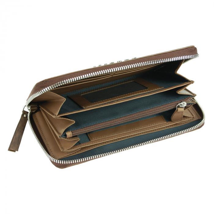 Portofel dama maro coniac, piele naturala cu perforatii, Bugatti model Perfo 502 [1]