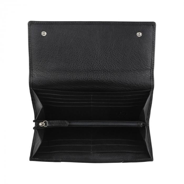 Portofel dama, negru din piele naturala moale, Bugatti model Lady Top 301 [1]