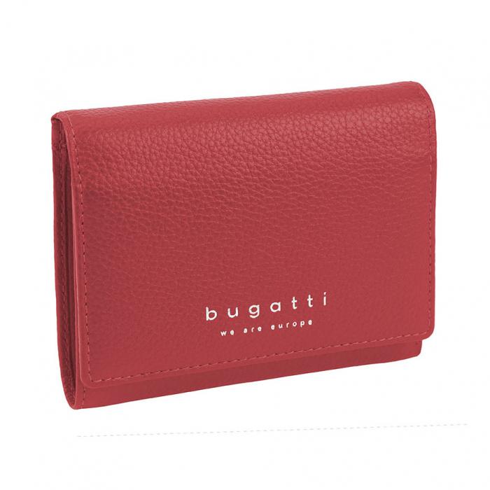 Portofel dama rosu din piele naturala moale, Bugatti model Linda [0]