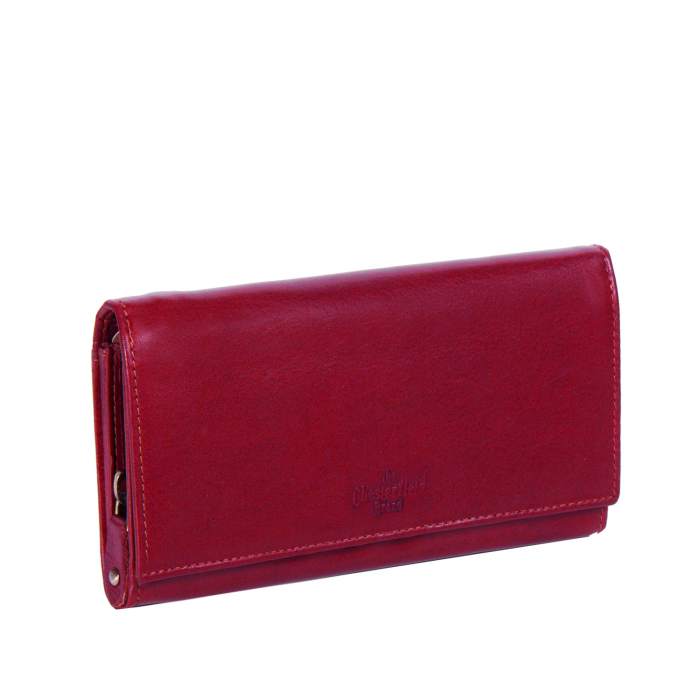 Portofel dama, The Chesterfield Brand cu protectie anti scanare RFID, din piele naturala rosie, Vilai 0
