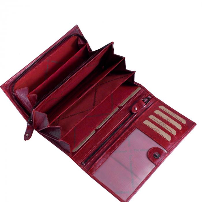 Portofel dama, The Chesterfield Brand cu protectie anti scanare RFID, din piele naturala rosie, Vilai 1