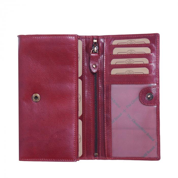 Portofel dama, The Chesterfield Brand cu protectie anti scanare RFID, din piele naturala rosie, Vilai 2