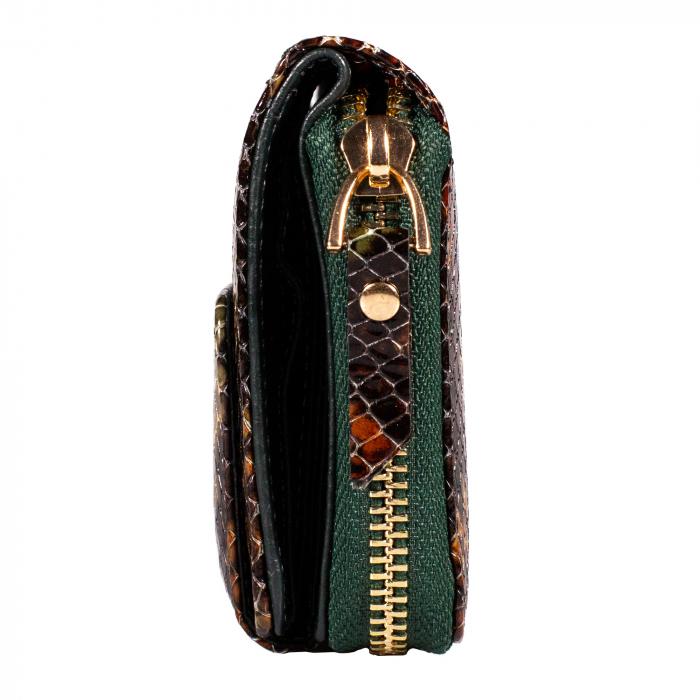 Portofel de dama din piele naturala, Tony Bellucci, T870, Verde piton [4]