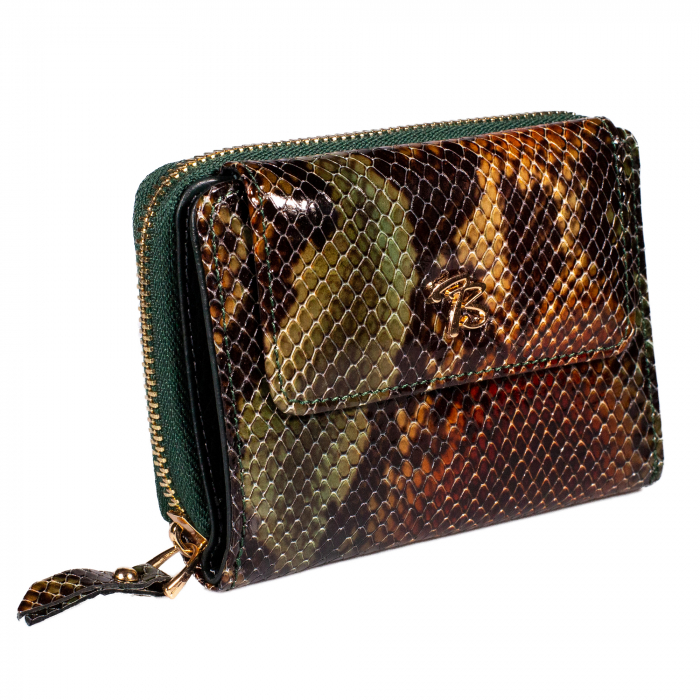 Portofel de dama din piele naturala, Tony Bellucci, T870, Verde piton [0]
