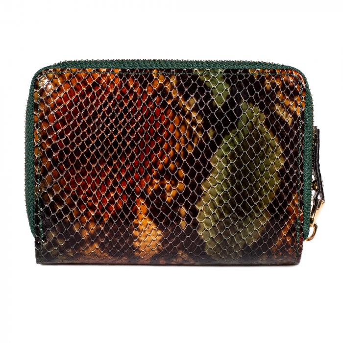 Portofel de dama din piele naturala, Tony Bellucci, T870, Verde piton [3]