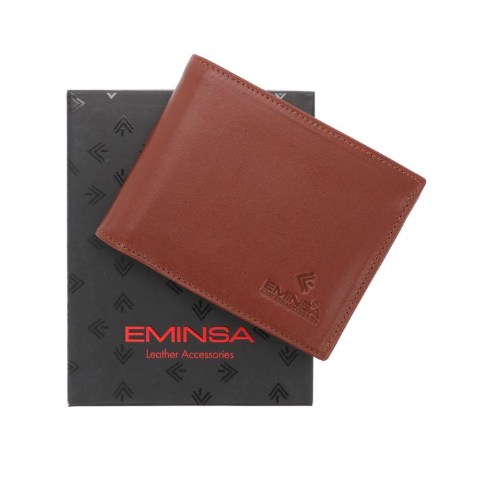 Portofel din piele fina maro coniac Eminsa pentru barbati, model 1013 [0]