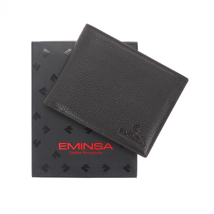 Portofel din piele moale maro inchis Eminsa pentru barbati, model 1057 [0]