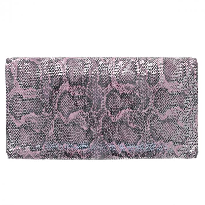 Portofel din piele naturala roz cu argintiu aspect piton, model 724, cu capac dublu 2