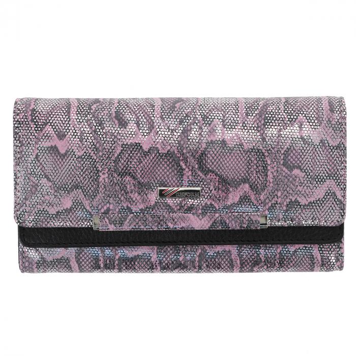 Portofel din piele naturala roz cu argintiu aspect piton, model 724, cu capac dublu 1