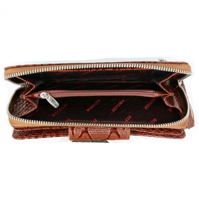 Portofel maro coniac din piele croco lac, cu fermoar si clapa , model 731 [2]