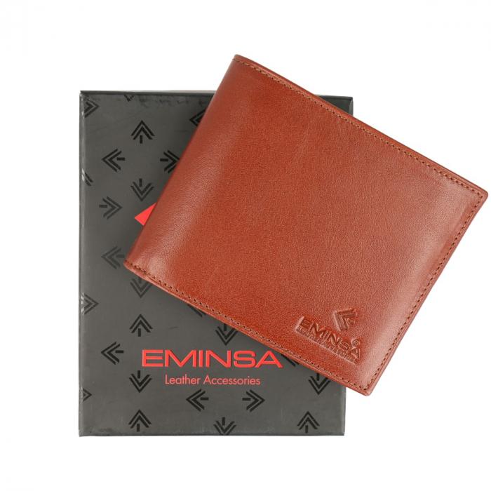 Portofel maro coniac din piele naturala, marca Eminsa, cod 1021 [0]
