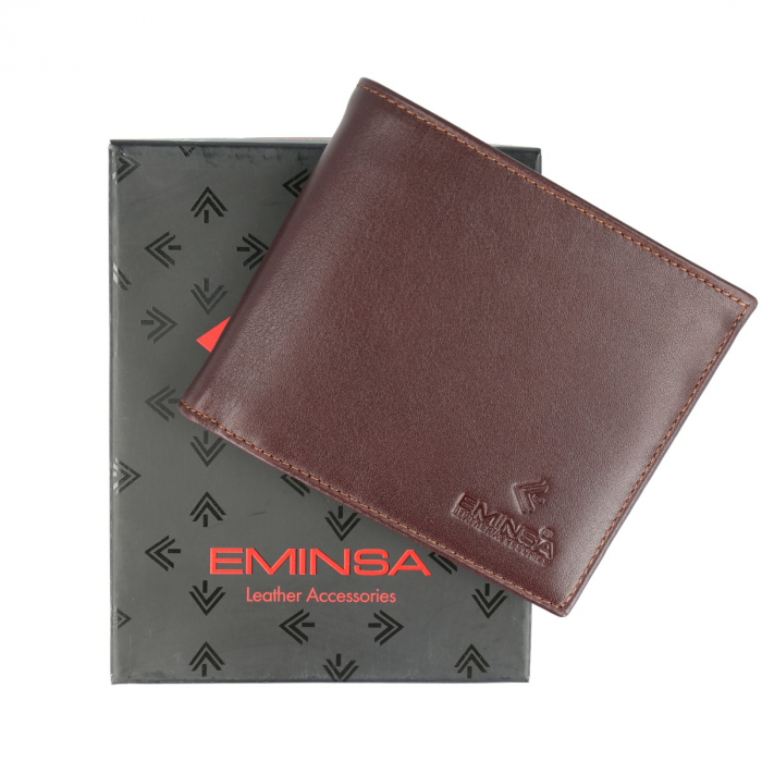 Portofel maro din piele naturala, marca Eminsa, cod 1021 [0]