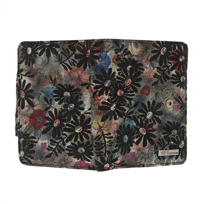 Portofel negru cu imprimeu floral, din piele naturala model 086 [2]