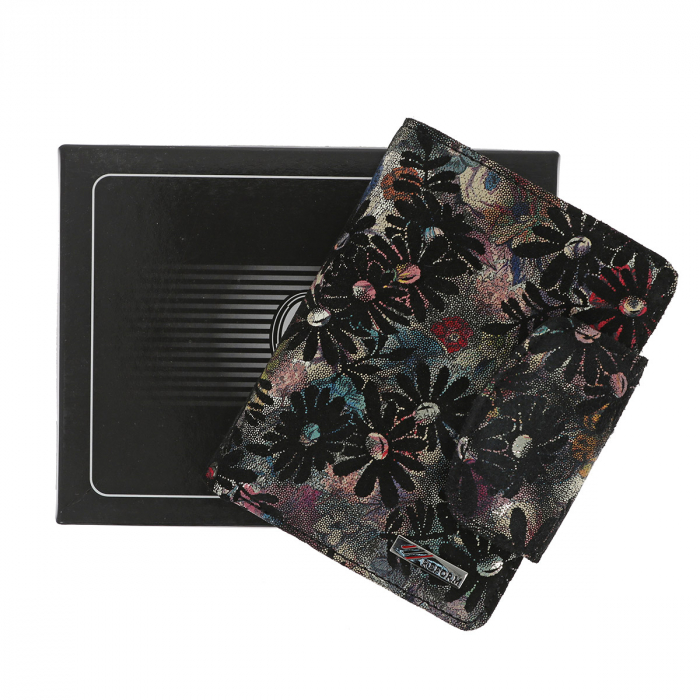 Portofel negru cu imprimeu floral, din piele naturala model 086 [0]