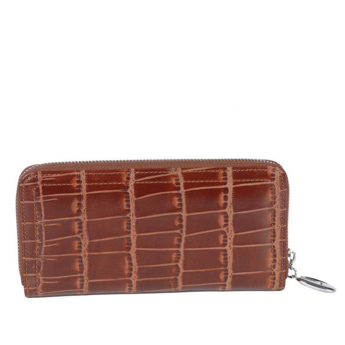 Portofel piele naturala dama cu fermoar, croco maro Tony Belucci, T509 model [1]