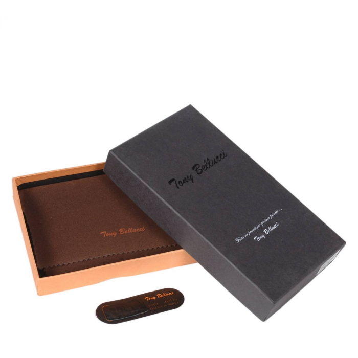 Portofel piele naturala dama cu fermoar, croco maro Tony Belucci, T509 model [3]