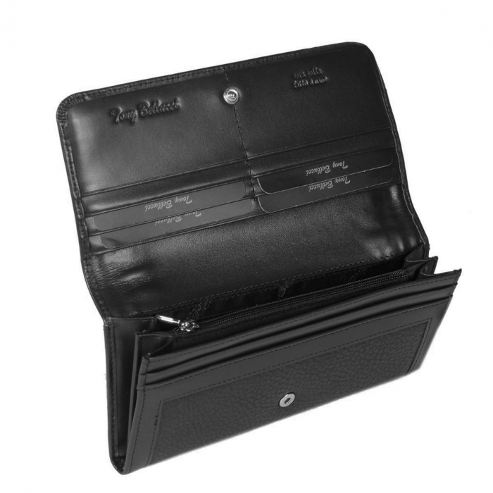 Portofel piele naturala de dama,model clasic negru Tony Belucci,  model  T614 [2]