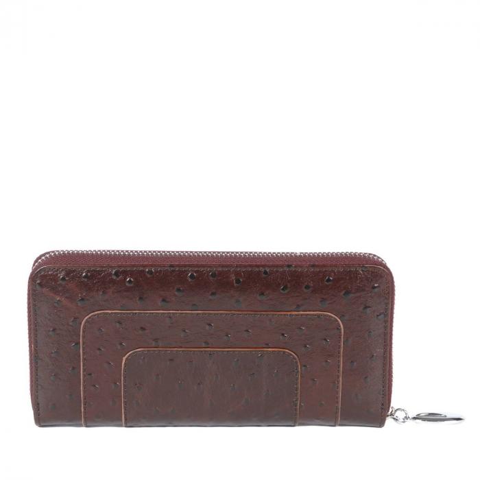 Portofel piele naturala tip strut, dama cu fermoar, bordo inchis Tony Belucci, T608 model 1