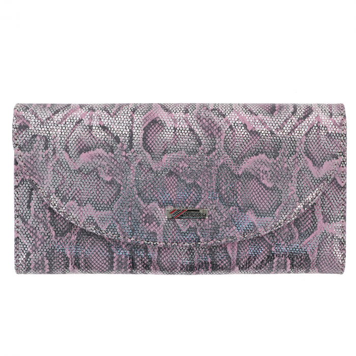 Portofel roz cu argintiu din piele naturala imprimeu tip piton, model 733 [1]