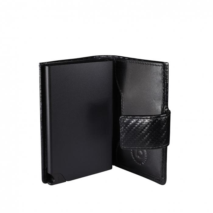 Portcarduri securizat, din piele naturala, cu protectie RFID, Bugatti, Secure Smart Deluxe, Negru carbon [4]