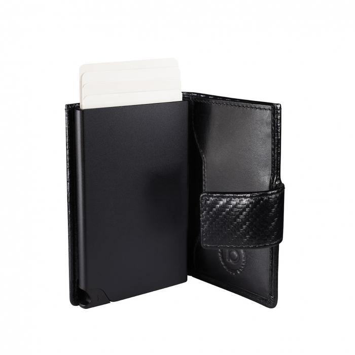 Portcarduri securizat, din piele naturala, cu protectie RFID, Bugatti, Secure Smart Deluxe, Negru carbon [3]