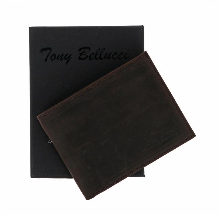 Portofel slim din piele maro ruginiu Tony Bellucci pentru barbati, model T138-07 [0]