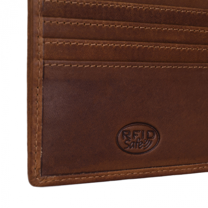 Portofel slim, The Chesterfield Brand, cu protectie anti scanare RFID, din piele naturala, Danny, Maro coniac [2]