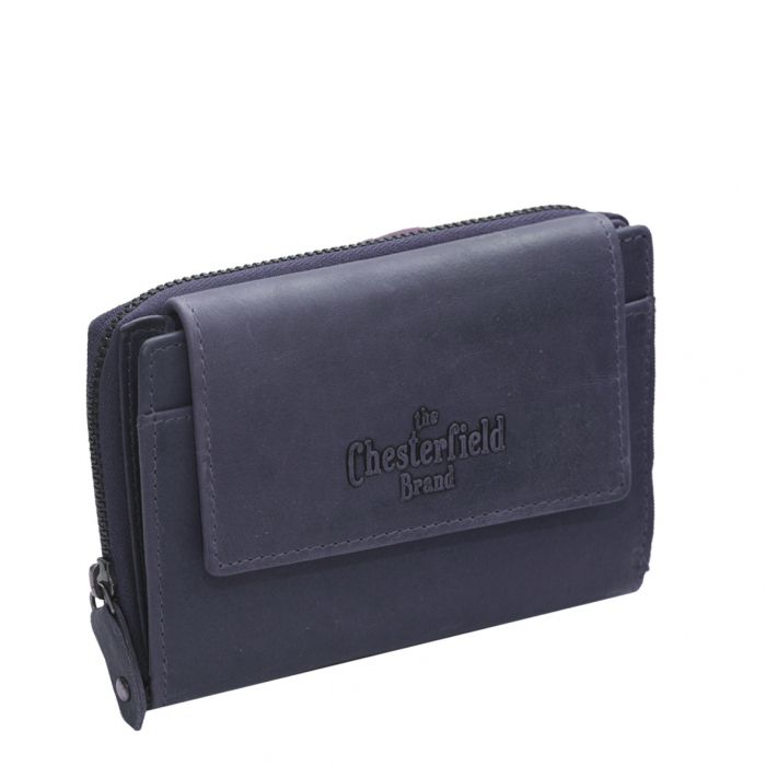 Portofel The Chesterfield Brand, cu protectie anti scanare RFID, din piele naturala moale, Ascot, Bleumarin [0]