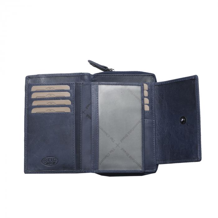 Portofel The Chesterfield Brand, cu protectie anti scanare RFID, din piele naturala moale, Ascot, Bleumarin [2]