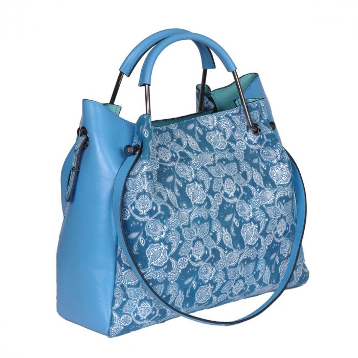 Poseta albastra din piele naturala cu flori albe [0]