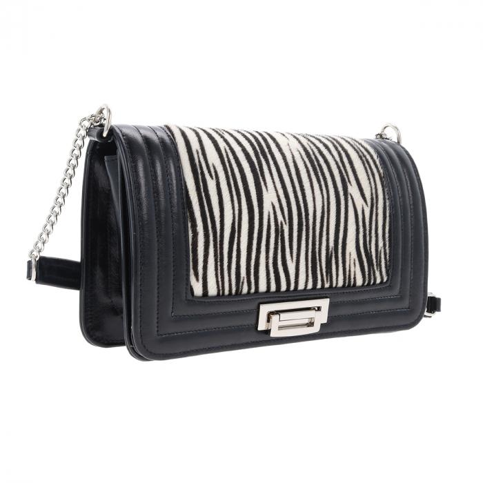 Poseta tip Chanel din piele naturala neagra si model zebra [0]