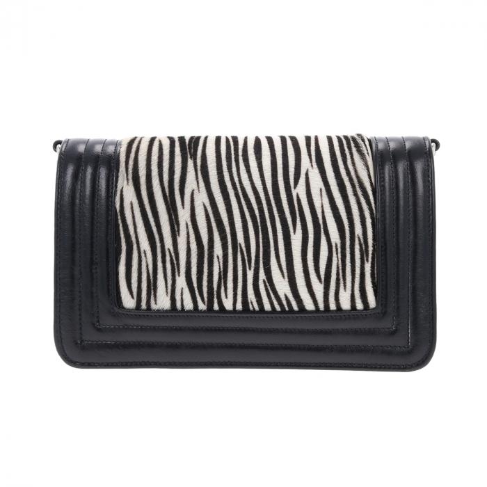 Poseta tip Chanel din piele naturala neagra si model zebra [2]