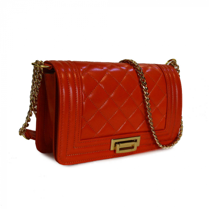 Poseta tip Chanel piele portocalie [0]