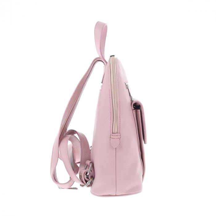 Rucsac de dama din piele naturala moale roz pudra, model 119 [4]