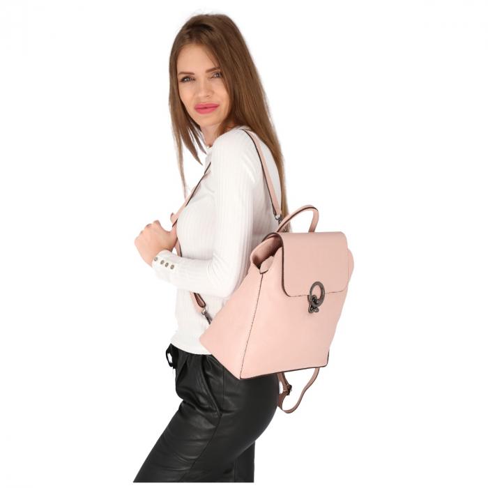 Rucsac din piele naturala roz pudra model 4114 [0]
