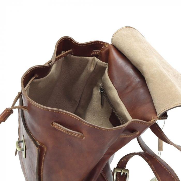 Rucsac din piele naturala vachetta maro coniac, cu snur si capac model 4429 [3]