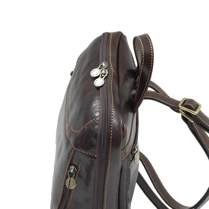 Rucsac din piele naturala vachetta maro inchis model 4430 [3]