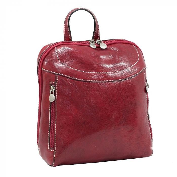 Rucsac din piele naturala vachetta rosu model 4430 [0]
