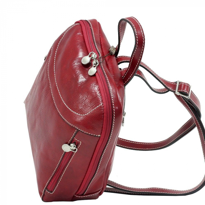 Rucsac din piele naturala vachetta rosu model 4430 [2]
