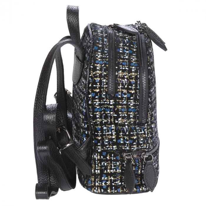 Rucsac negru cu imprimeu colorat din piele naturala nubuc 1137 [1]