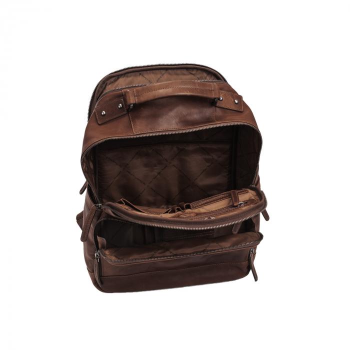 Rucsac pentru laptop de 14 inch si tableta, The Chesterfield Brand, din piele naturala, Austin, Maro inchis [2]