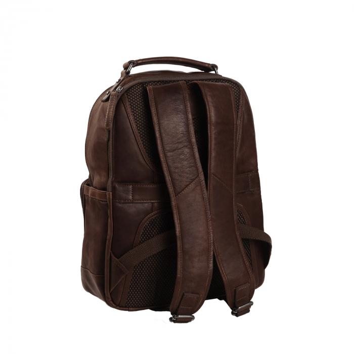 Rucsac pentru laptop de 14 inch si tableta, The Chesterfield Brand, din piele naturala, Austin, Maro inchis [5]