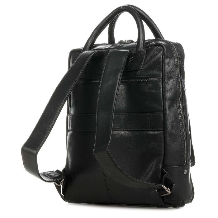 Rucsac pentru laptop de 14 inch, The Chesterfield Brand, din piele, model Yonas, Negru [4]